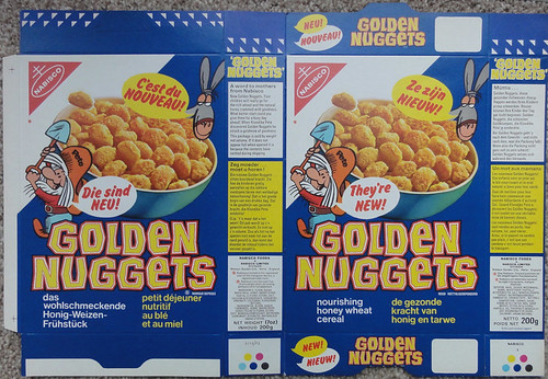 1973 Nabisco UK Golden Nuggets Cereal Packet Box