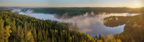 park morning trees summer sky panorama sun sunlight mist lake nature fog forest sunrise finland landscape scenery reserve sunny clear majestic idyllic hdr aulanko nordicnature