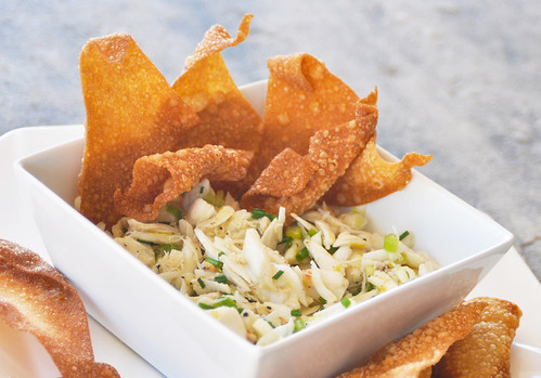 Crab Salad with Wonton Crisps