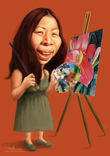 flower painter Joann Durst caricature
