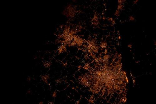 Shanghai at Night (NASA, International Space Station, 03/27/12)