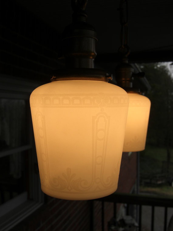 victorian etched glass lamp shade