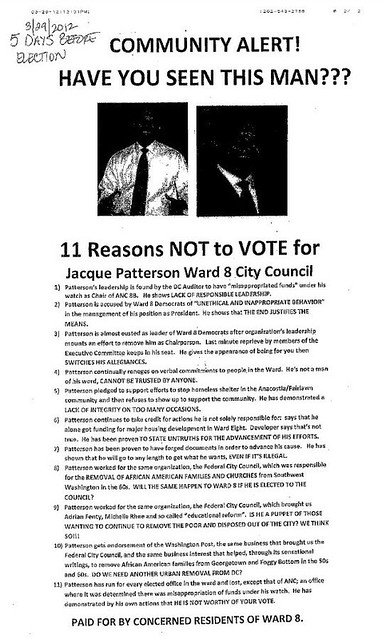 Anti Jacque Patterson election flyer