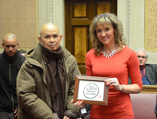 Junior Minister Martina Anderson MLA, OFMDFM, pictured with Zen Master Thich Nhat Hanh (Thay) at Parliament Buildings.