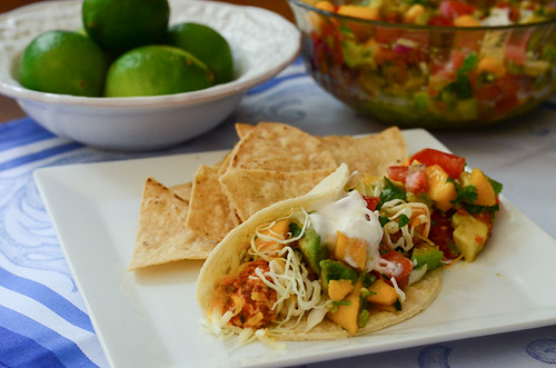 Chicken Tacos with Mango Avocado Salsa.