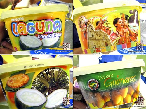The tubwrap of Laguna's Macapuno Banana and Macapuno Langka flavors featured tourist spots Rizal Shrine, Hidden Valley, Pagsanjan Falls, St. Peter Alcantara Church and Mt. Makiling as well as the Anakalang and Luisiana Pandan Festivals.