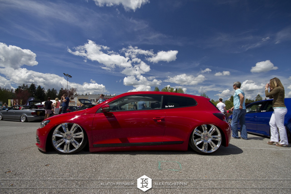 red vw sirocco on airride at worthersee gti treffen 2012