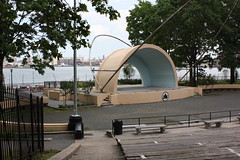 The repainted amphitheater by the East River.