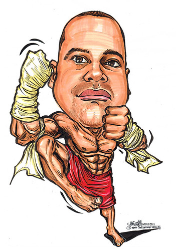 Muay Thai boxer caricature
