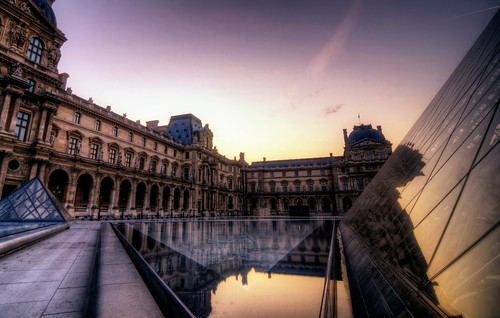 morning sunset sun paris france building museum sunrise cityscape pyramid louvre musee clear hdr museedelouvre tonemapped
