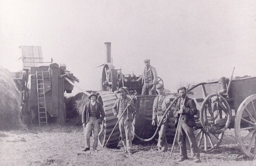 Threshing machine at Ohoka - Edwin Lord first from right