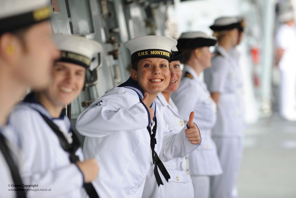 Royal Navy Sailor Gives Thumbs Up During Visit to New Orleans