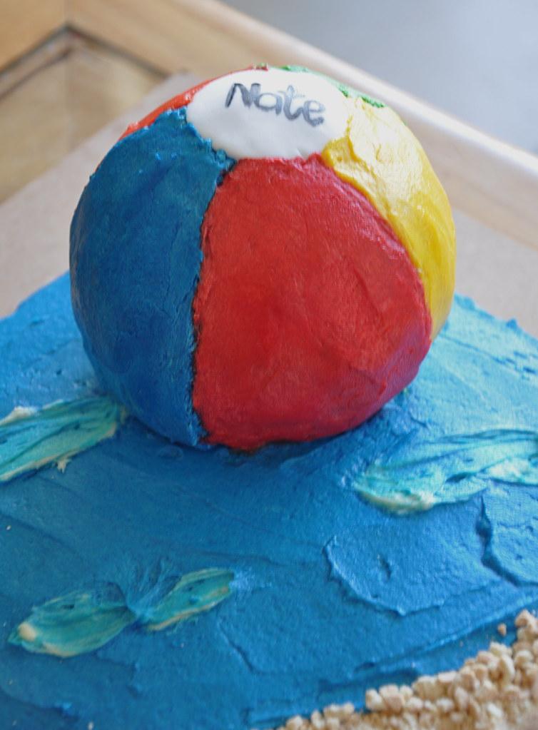 Incredible Beach Ball Birthday Cake Petticoatsandpeplums Blogspot Flickr Birthday Cards Printable Benkemecafe Filternl
