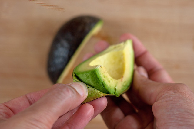 pull skin from avocado
