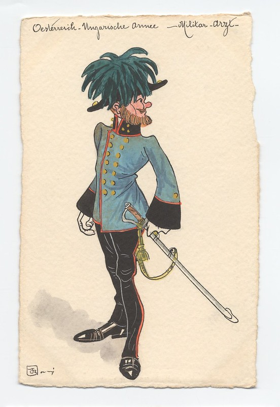 Absurd looking sketch of blue tunic-wearing soldier with feathered hat and sword on waist