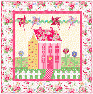 Little Garden House in Spring by Shabby Fabrics in Pam Kitty Love fabric
