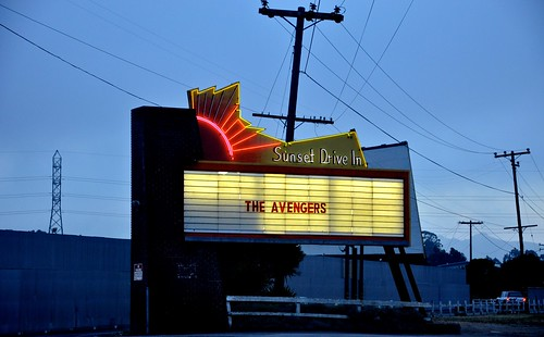 Sunset Drive In Neon Marquee