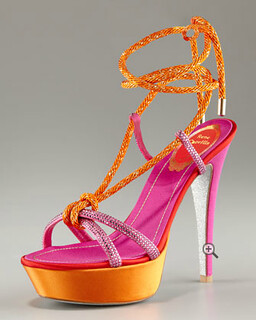 Rene Caovilla Ankle-Tie Platform Sandal NM Retail $1025 on sale for $686