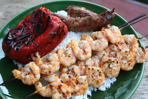 Grilled Garlic Herb Sausage, Garlic Marinated Shrimp Skewers, and Red Pepper with Rice