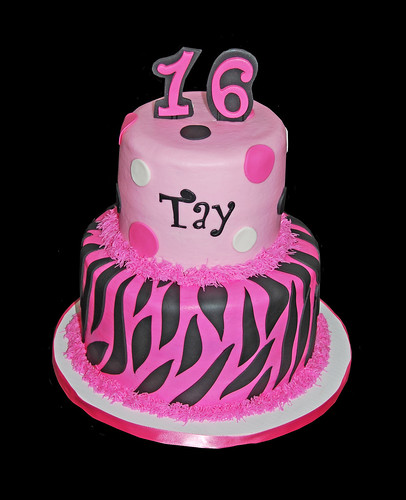sweet 16 black and pink zebra birthday cake