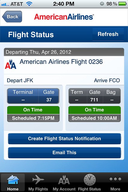 AA0236 JFK - FCO