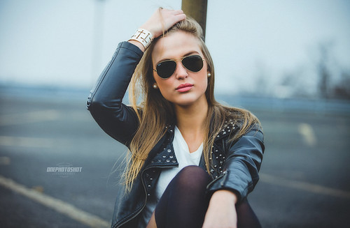 Lisa leather jacket portrait