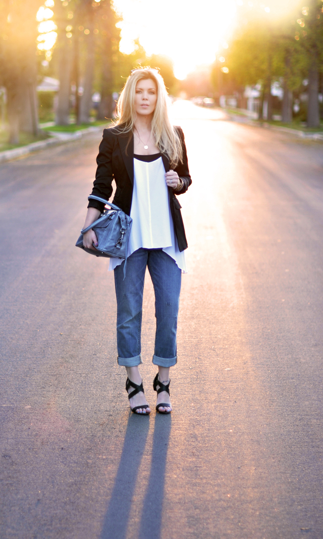 jeans  and  a  black  blazer  and strappy heels-minimal classics