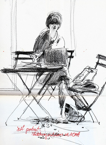 Self portrait sketching at NCMA