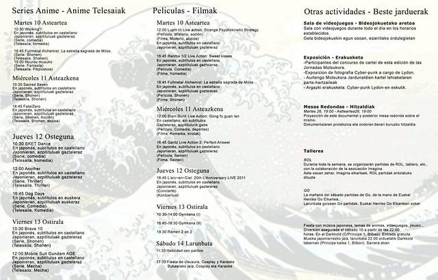 triptico  XIV Jornadas Manga y Anime Motsukora en Barakaldo