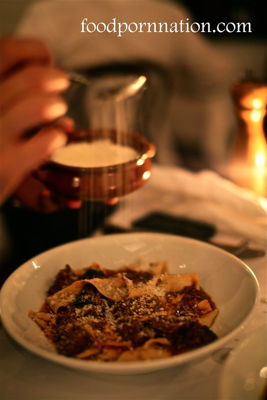 Hand cut pappardelle pasta, slow braised beef, red wine, tomato, bay, sage   34