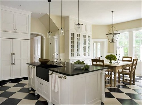 eric_roth_kitchen_white_traditional_cabinets_check_checkered_tile_floor