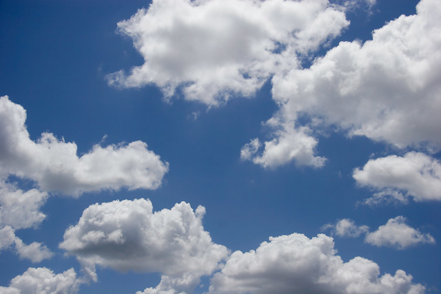 Fluffy White Clouds, Blue Sky