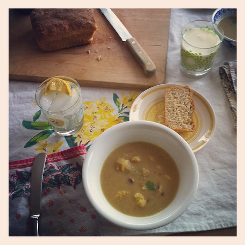 cauliflower soup and homemade bread