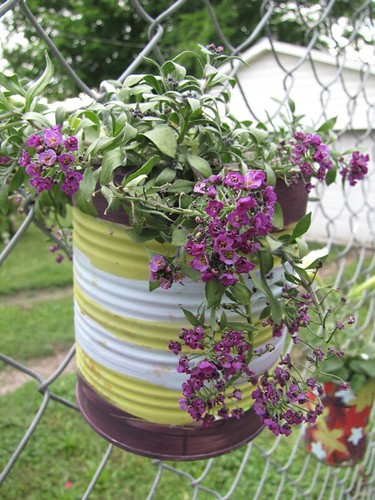 Recycle Can Fence Planter