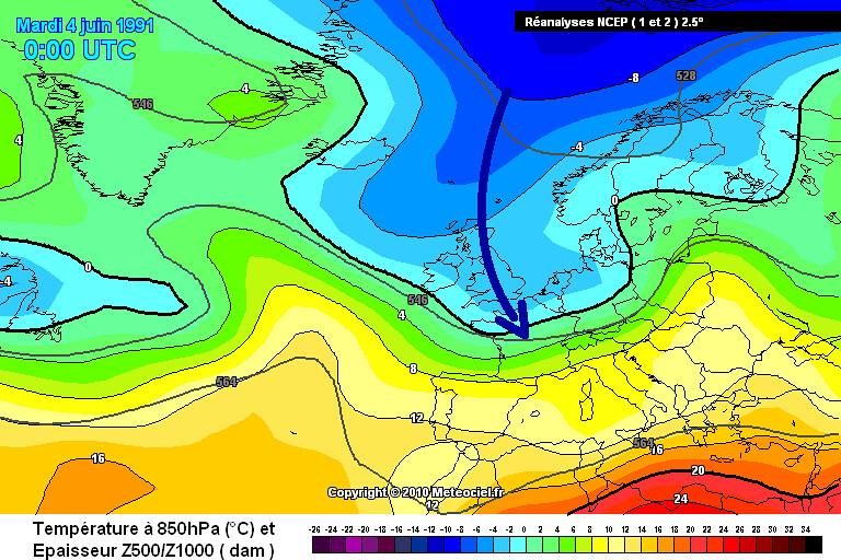 carte de situation des records de froid et des gelées tardives des 4 et 5 juin 1991 météopassion