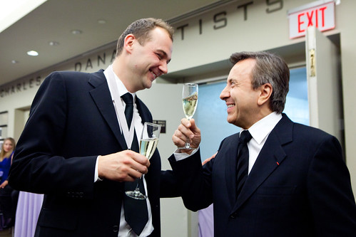 Chefs Daniel Hum & Daniel Boulud, toasting to Humm's win for James Beard Award 2012 Winner: Outstanding Chef