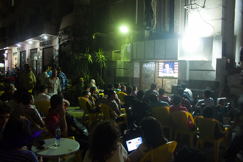 People watching the 1st Presidential debate in Egyptian history