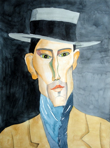 Amedeo Modigliani's Portrait of a Man with Hat, 01
