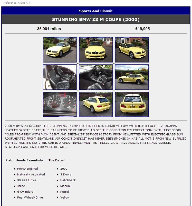 2000 M Coupe | Dakar Yellow | Black | Pistonheads Ad Screenshot