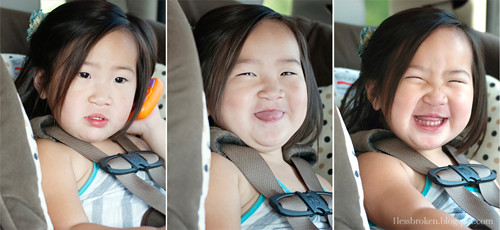 trio faces in car