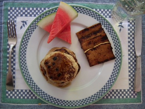 Lemon Blueberry Pancakes (with watermelon and tofu bacon)
