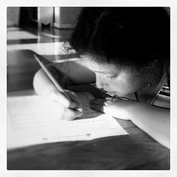 Some homework in a sun pool #picturebw