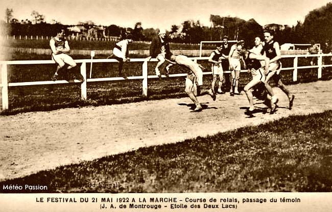 sportifs sur une piste d'athlétisme par le soleil et la chaleur le 21 mai 1922 météopassion