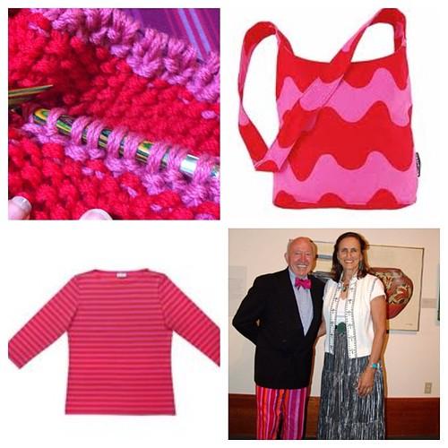 My knitting inspiration! L-R: my knitted cowl, #marimekko bag, my fav #marimekko striped tee, #marimekko gurus  Bud Collins & Anita!!