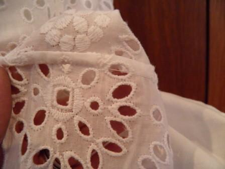 White EYelet Skirt Seam