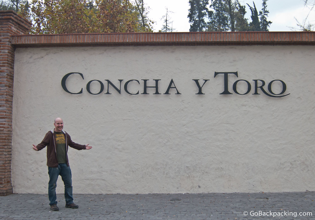 Required pose at the entrance to Concha y Toro