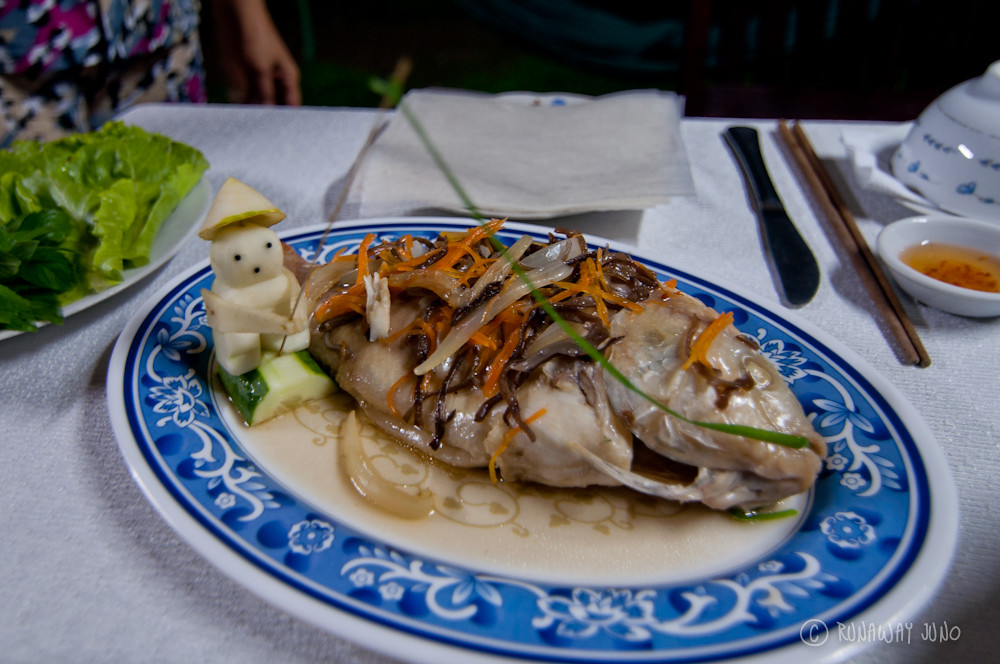 Steamed fish from Mekong Delta