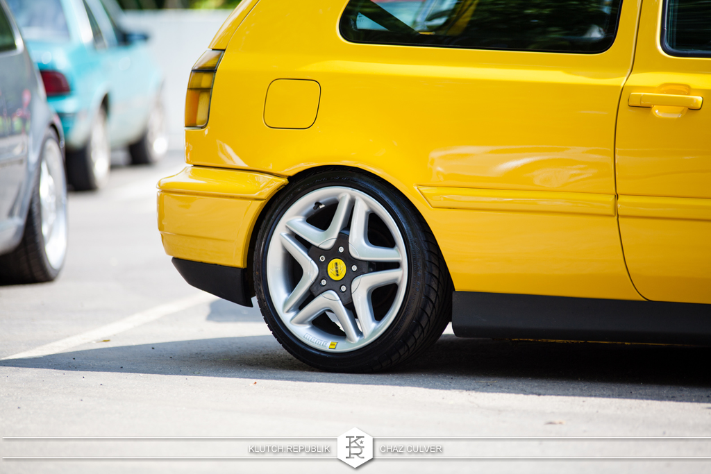 ginster yellow mk3 vw gti static low on momo wheels at southern worthersee 2012