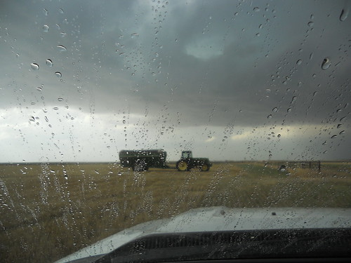 Grain cart in the rain