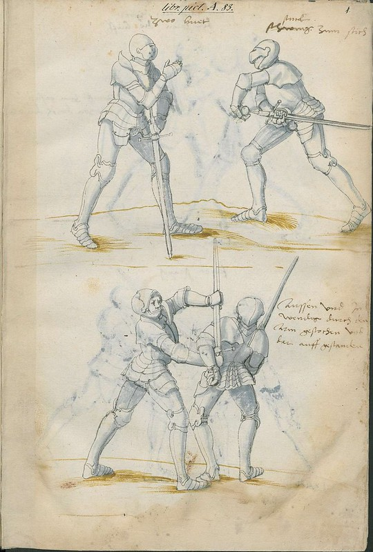 16th century sword fight manuscript drawing - Combat Knights 1